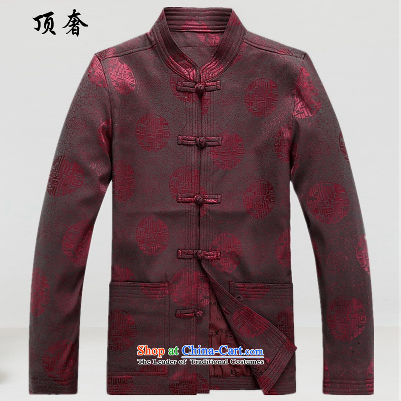 Top Luxury of older men long-sleeved Tang tray clip name ethnic costumes leisure improved loose Han-men Tang jacket for autumn and winter, the collar life jackets, Tang dynasty?XXXL/190 red