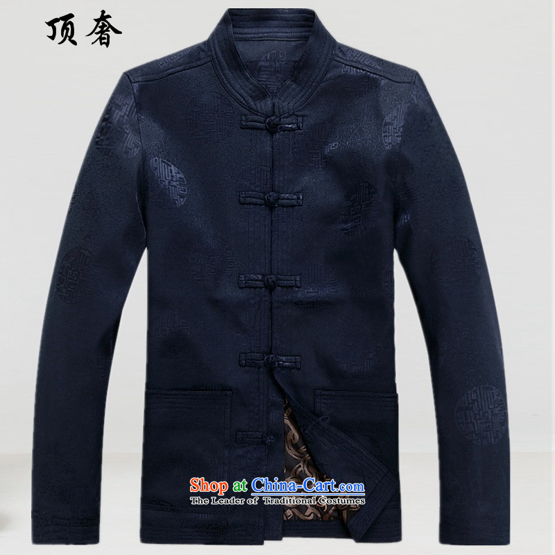 Top Luxury  2015 New Chinese Men's Mock-Neck Tang dynasty during the spring and autumn jacket Long-sleeve Yoshihisa service men Han-blue jacket men with blue T-shirt, Father XXXL_190