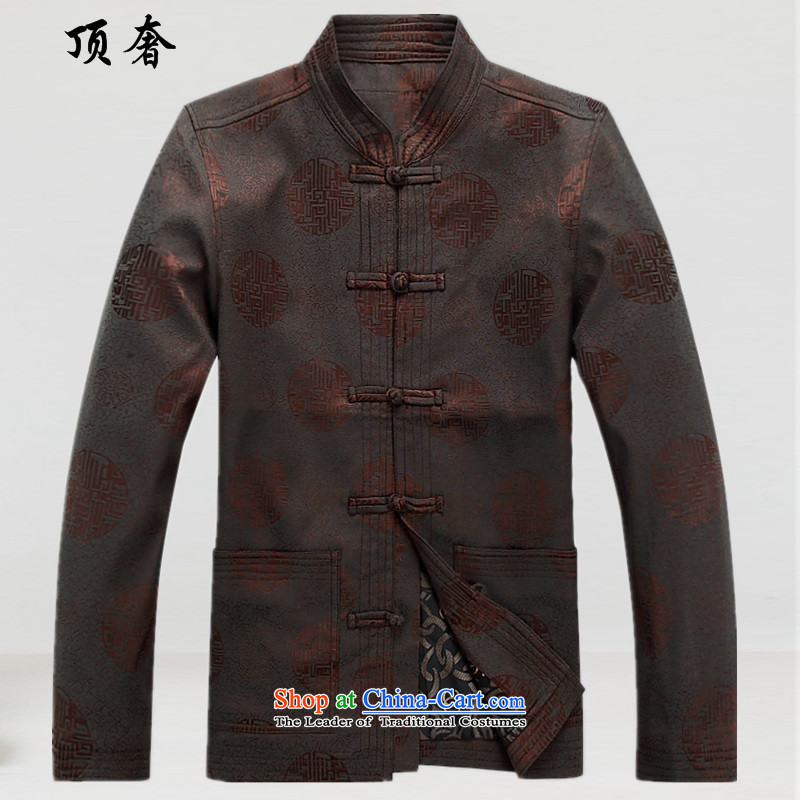 Top Luxury of autumn and winter new Chinese Men's Mock-Neck Tang jackets genuine elderly in long-sleeved Yoshihisa service men Han-jacket grandfather replacing Tang dynasty dress making color?XL/180 shirts