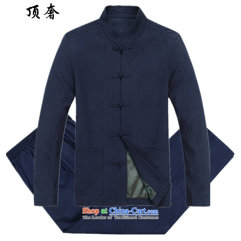 Top Luxury and long-sleeve sweater Tang dynasty China wind men Chinese clothing Han-male cotton shirt red Tang Dynasty Package for the elderly over the life jackets and Tang dynasty�01_ blue packaged燲XL_185