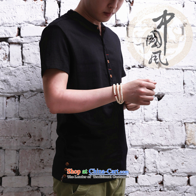2015 men's short-sleeved shirt cotton linen collar Korean Solid Color leisure linen  Single Row Clip Black?L.