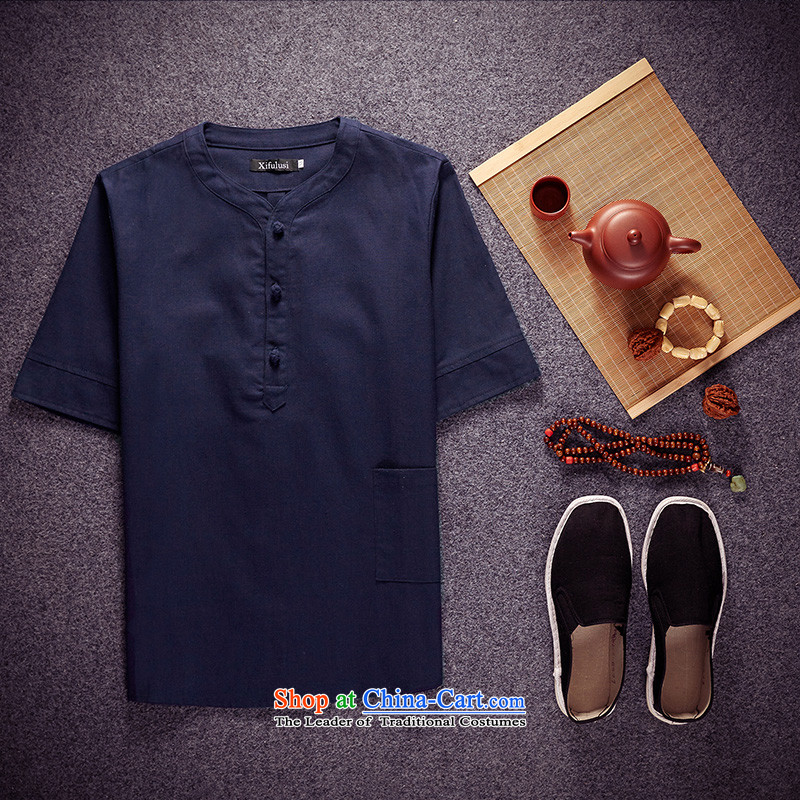 The new summer 2015 Men's Shirt multi-colored collars China wind up large tie linen shirt men short-sleeved T-shirt shirt color navy?M 95-110) Recommendations