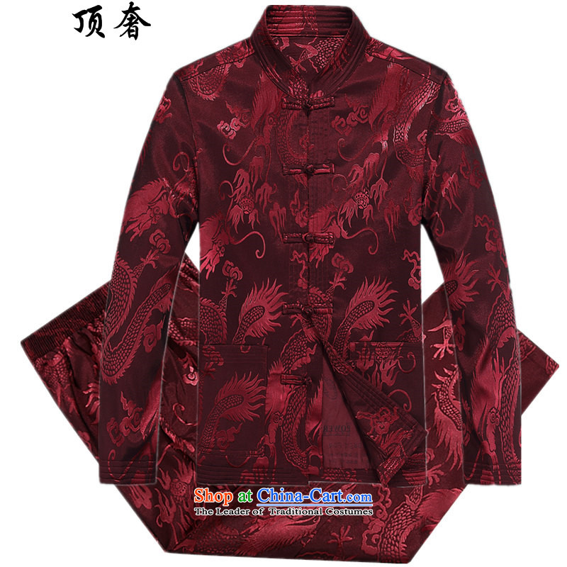 Top Luxury autumn and winter, Tang Dynasty Men's Mock-Neck disk pack detained Men's Shirt father in older version relaxd jacket Tang Chinese Blue Han-red聽XXXL_190 Kit