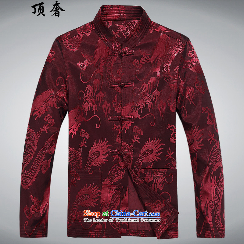Top Luxury autumn and winter, Tang Dynasty Men's Mock-Neck disk pack detained Men's Shirt father in older version relaxd jacket Tang Chinese Blue Han-red kit聽XXXL/190, top luxury shopping on the Internet has been pressed.