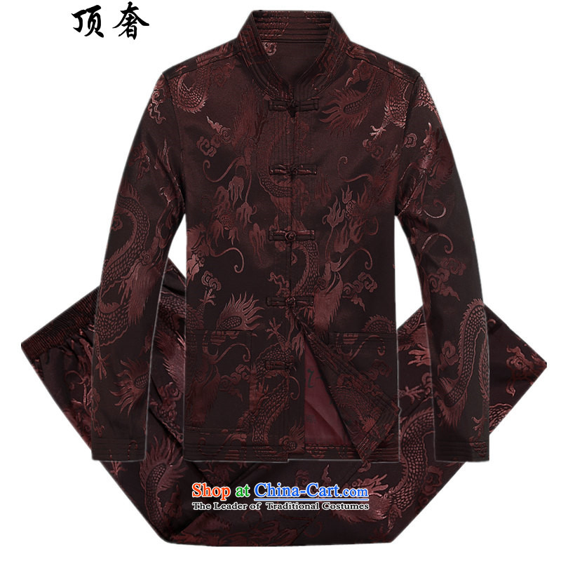 Top Luxury autumn and winter, Tang Dynasty Men's Mock-Neck disk pack detained Men's Shirt father in older Tang Jacket Chinese Blue Han-coffee-colored燤_170 Kit