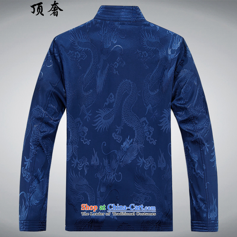 Top Luxury autumn and winter, Tang Dynasty Men's Mock-Neck disk pack detained Men's Shirt father in older Tang Jacket Chinese Blue Han-color kit聽M/170, lady top luxury shopping on the Internet has been pressed.