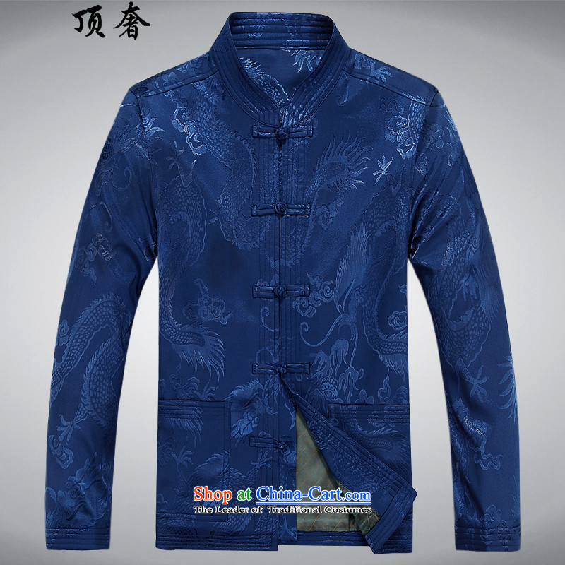 Top Luxury Men long-sleeved shirt of older persons in the Tang Dynasty Chinese men and Mr Ronald Tang dynasty through the spring and fall of long-sleeved shirt XL older Tang Dynasty Package Han-male blue shirt?XL/180