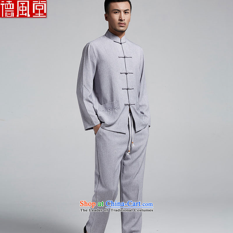 Fudo Tak Sang-hyun kit shirt + cotton linen pants men in spring and autumn Tang dynasty China wind collar long-sleeved shirt with tie up manually pants collar retro Chinese Light Gray燲L