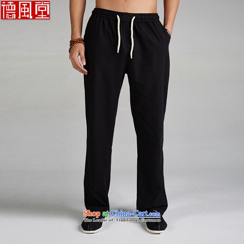Fudo breeze linen de summer Tang Dynasty Chinese men's trousers, draw down soft lounge light China Wind Pants�XXXL black