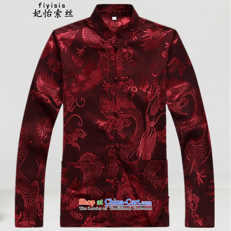 Princess Selina Chow in Tang Dynasty, older men long sleeve packaged in spring and summer and short-sleeved ethnic Han-large long-sleeved Father's Day will Han-red T-shirt�180
