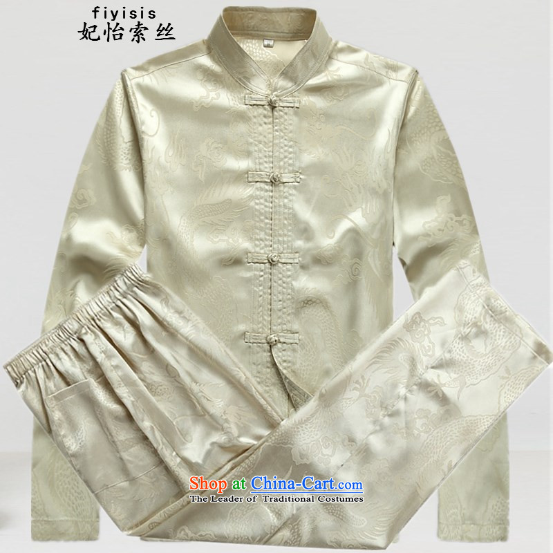 Princess Selina Chow in older persons in the Tang Dynasty Man Kit long-sleeved Chinese men fall father elderly grandparents summer men Tang Dynasty Package with beige kit father聽180
