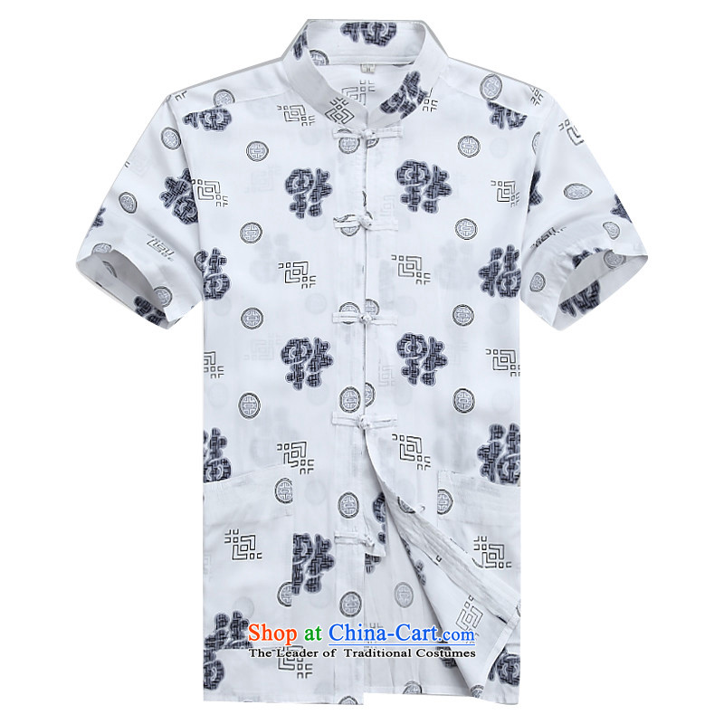 Beijing Summer middle-aged men OSCE Tang dynasty in his shirt-sleeves older father boxed Mock-Neck Shirt white燣_175 half sleeve