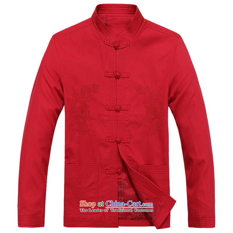 Kanaguri mouse spring, Tang dynasty in the breathable older jacket jacket summer Long-Sleeve Shirt collar men Tang dynasty long-sleeved red XXL/185 Dad