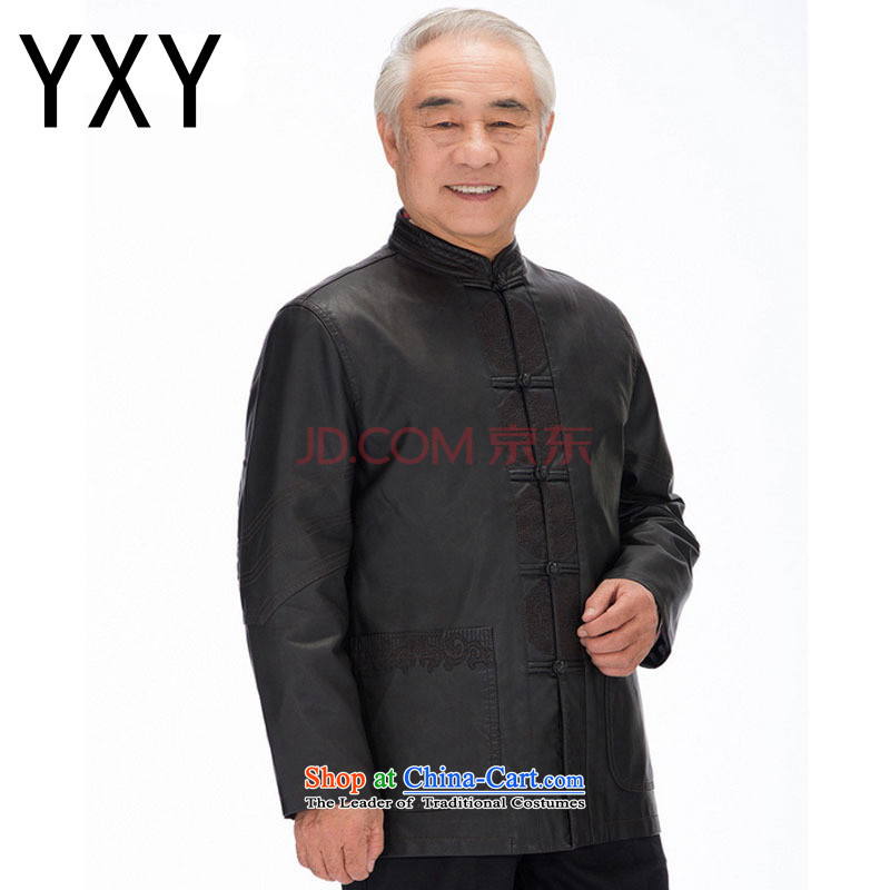 In line cloud men Tang long-sleeved jacket PU washable leather Tang dynasty national costumes and casual clothes聽DYD-818聽black聽XXL