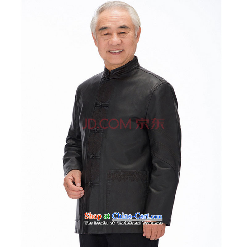 In line cloud men Tang long-sleeved jacket PU washable leather Tang dynasty national costumes and casual clothes聽DYD-818聽聽XXL, black-line (youthinking cloud) , , , shopping on the Internet