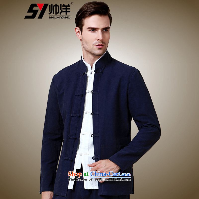 The Ocean 2015 Autumn Load Shuai New Men Tang China Wind Jacket Sau San Men long sleeved shirt Simple Chinese shirt navy blue long-sleeved (41/175)