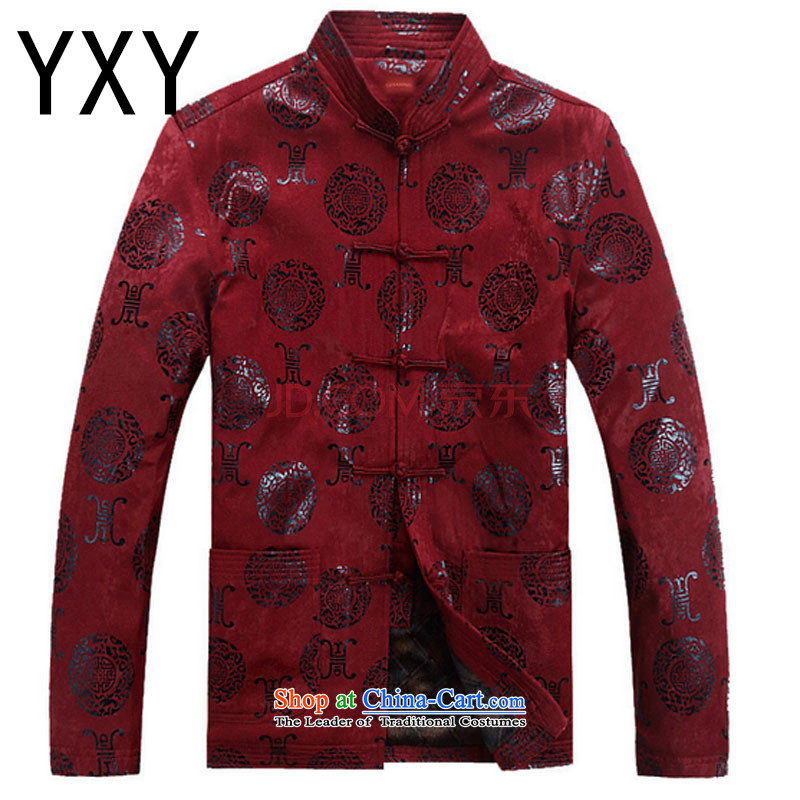 Line-in the cloud of older men Tang Dynasty Chinese long-sleeved sweater disc buttoned, China wind jacket during the Spring and Autumn and Tang�DYF07�XXXL deep red