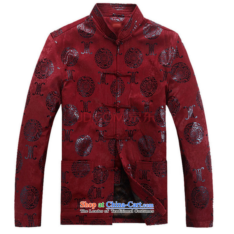Line-in the cloud of older men Tang Dynasty Chinese long-sleeved sweater disc buttoned, China wind jacket during the Spring and Autumn and Tang DYF07  XXXL, deep red-line (youthinking cloud) , , , shopping on the Internet