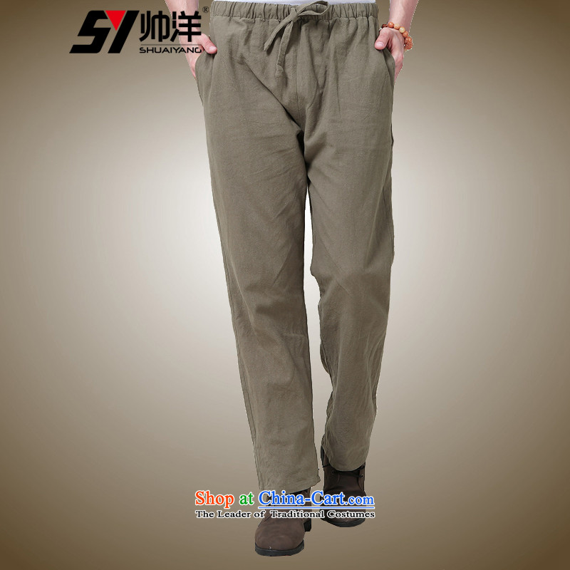 The Ocean 2015 Autumn Load Shuai New Men Tang pants China wind national costumes and trousers Chinese pickled men's trousers, cotton linen color?40/170