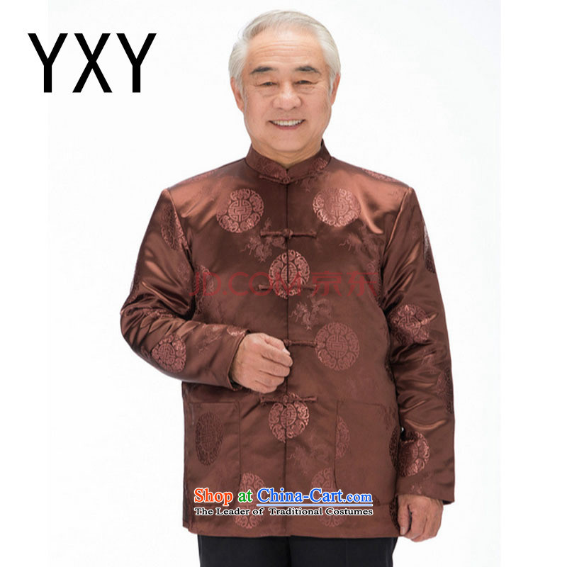 In line with long-sleeved-Tang Yun-clip cotton robe in Tang Dynasty older men's jackets for winter�DY0757 autumn�khaki�XXXL