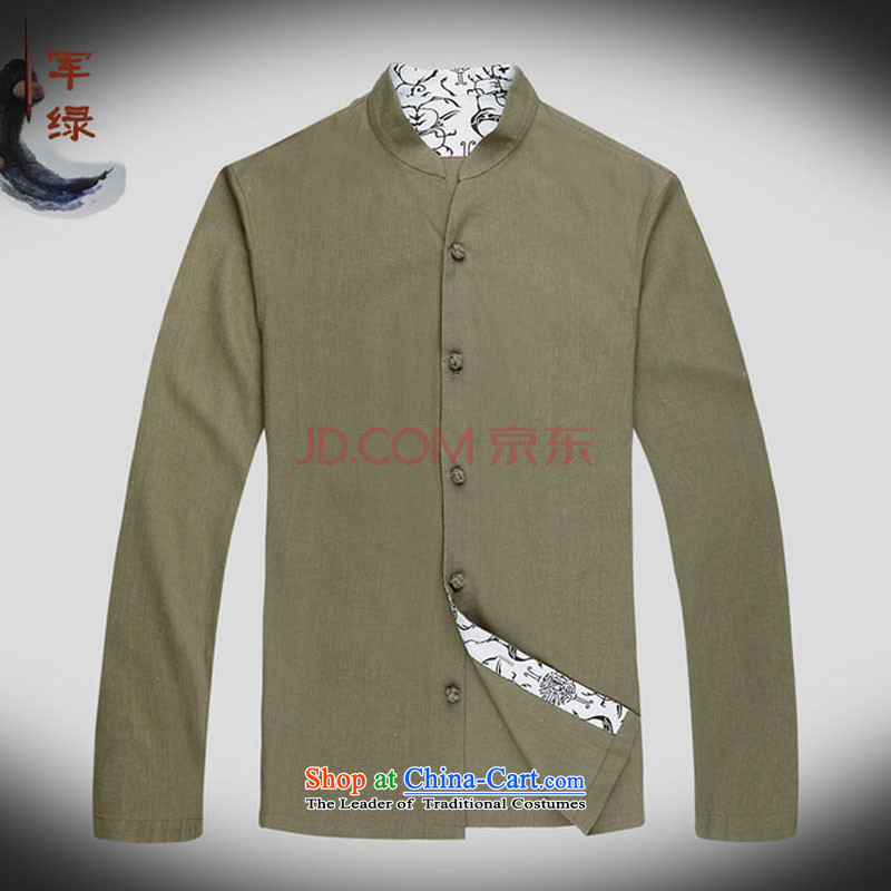 In line cloud long-sleeved China wind collar Chinese improved leisure Tang Dynasty Large male national costumes autumn)聽聽, L-DY053 Army Green Line (youthinking cloud) , , , shopping on the Internet