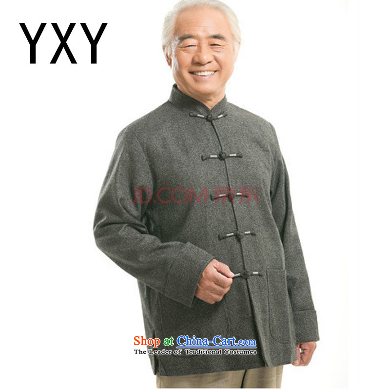 Line-in the cloud of older men long-sleeved shirt Chinese Tang dynasty older persons jacket? men燚Y9821 gross爈ight gray燲XXL