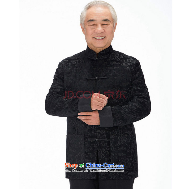 Line-in the cloud of older men herbs extract Tang casual thick long-sleeved Tang Dynasty Xiangyun ethnic men Tang jacket聽DY1316聽聽XXL, black-line (youthinking cloud) , , , shopping on the Internet