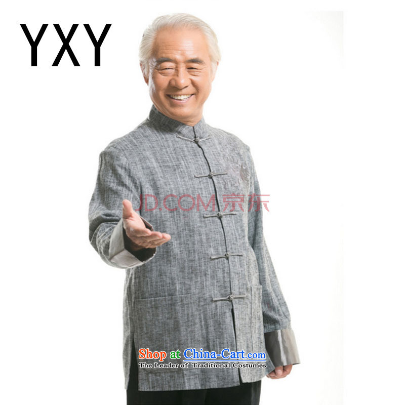 Line-in the cloud of older men Tang dynasty long-sleeved sweater Fall_Winter Collections of ethnic Chinese disc loading dad clip cotton linen and light gray聽XXXL