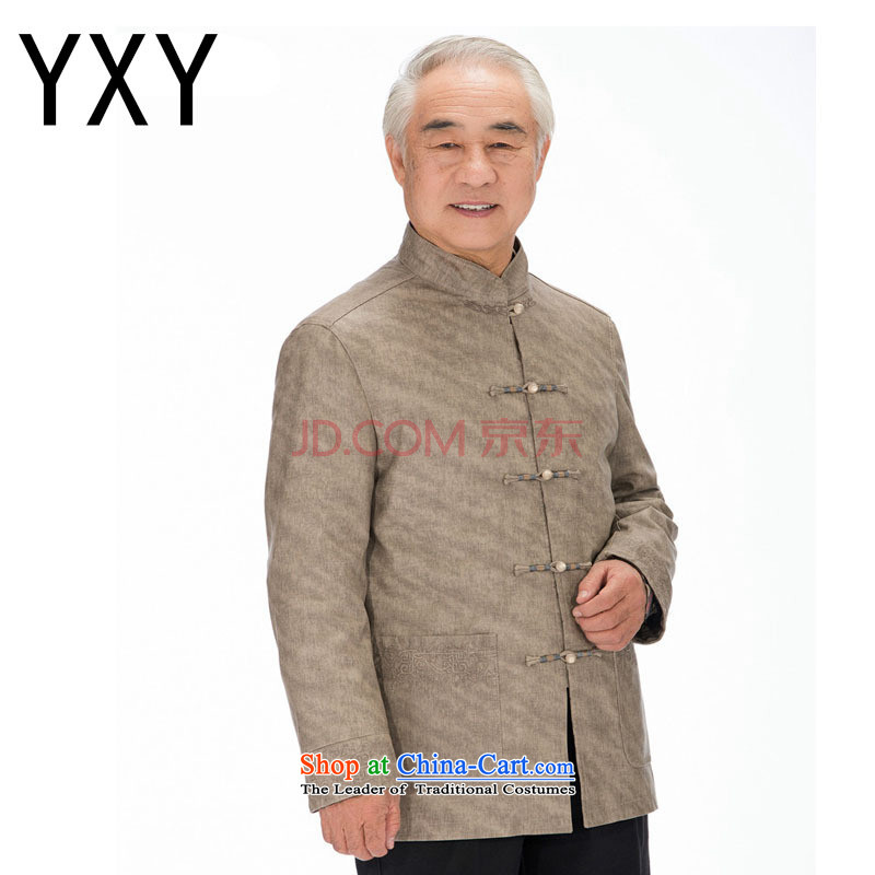 In line cloud Chinese improved grain Ma Man Korea washable leather Tang in older leisure PU JACKET�DY1322�KHAKI�XXL