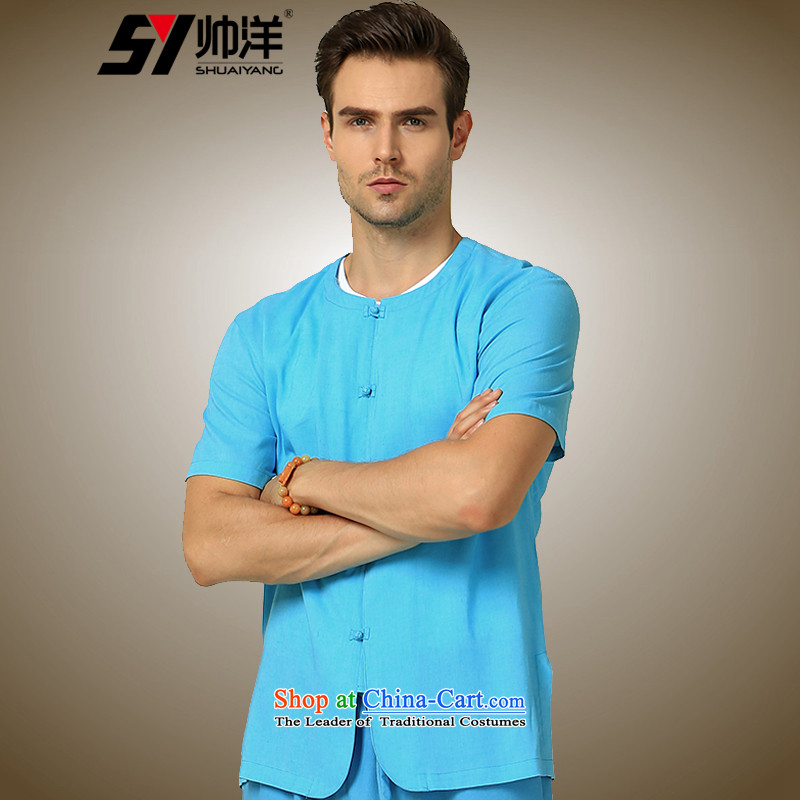 The new 2015 Yang Shuai round-neck collar men Tang dynasty short-sleeved shirt   China wind cotton linen and summer Chinese tunic�165/S blue