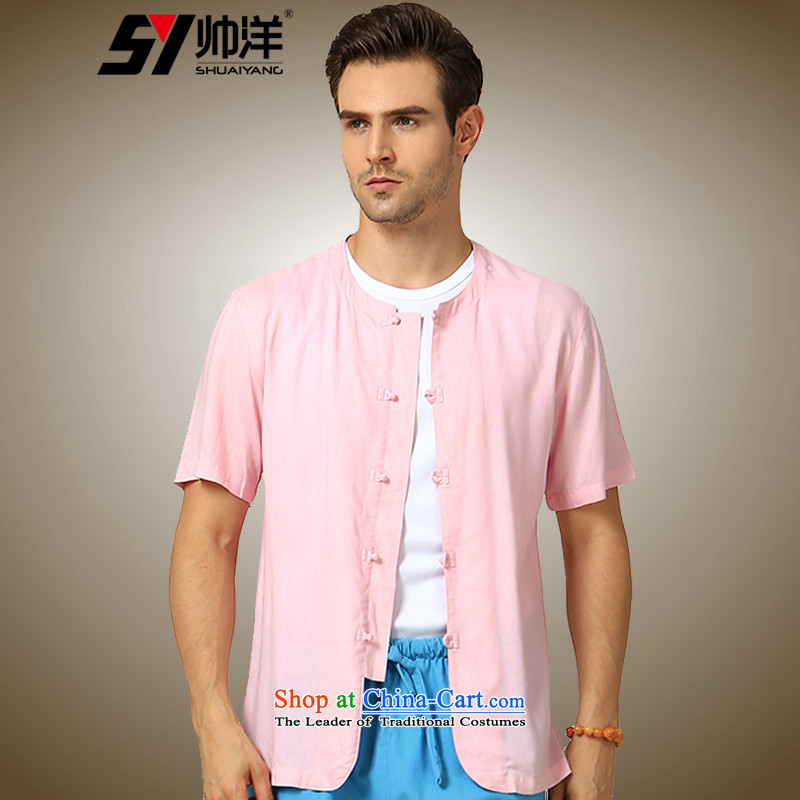 The new 2015 Yang Shuai round-neck collar men Tang dynasty short-sleeved shirt   China wind cotton linen and summer Chinese tunic blue聽165/S, Shuai Yang (SHUAIYANG) , , , shopping on the Internet