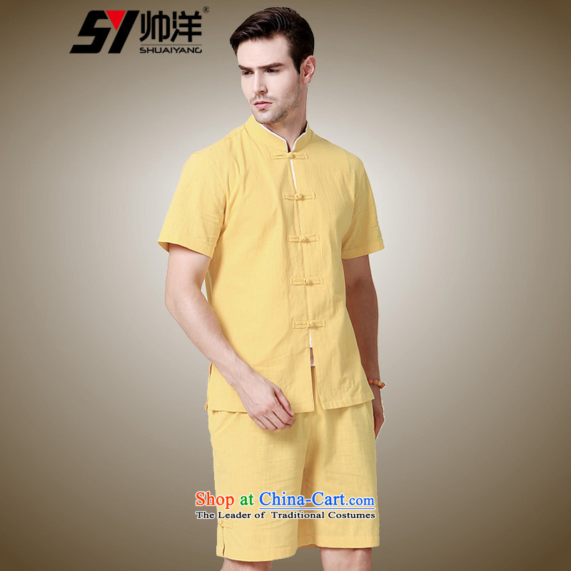 The new 2015 Yang Shuai men Tang Dynasty Package Shorts, short-sleeved Chinese Disc Chinese Wind collar national summer short-sleeved yellow _Boxset_ 175_L Shorts