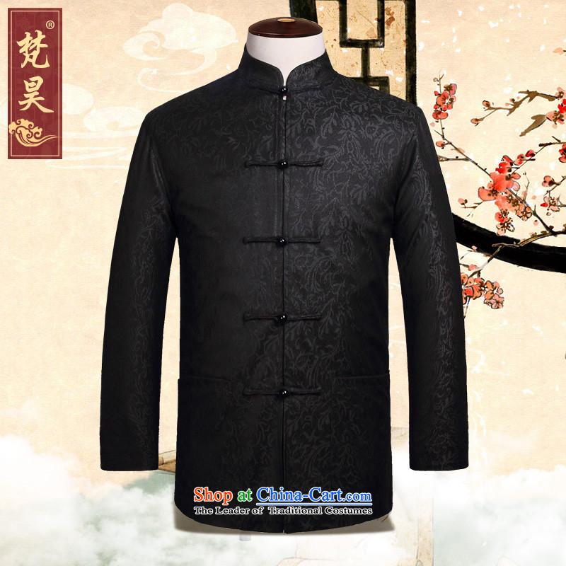 Van Gogh Ho Tang Dynasty Men's Mock-Neck Jacket Fall Arrest of long-sleeved red manually drive Tang dynasty W899 black?L
