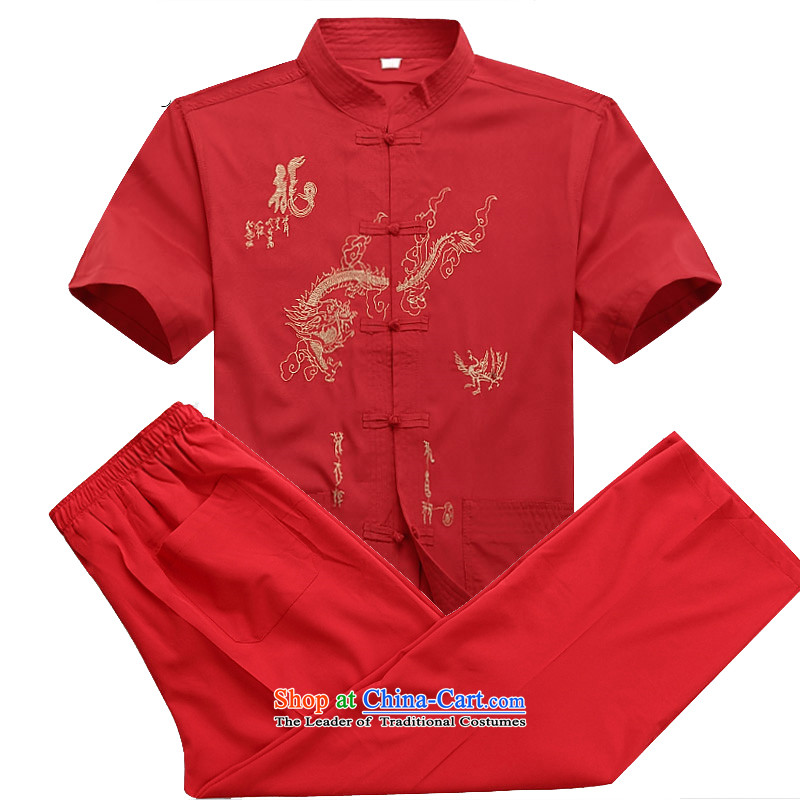 Beijing OSCE men Tang dynasty short-sleeve kit spring and summer load long-sleeved of older persons in the Tang dynasty short-sleeve packaged jogs casual Kit Han-kung fu Netherlands Red�M/170 Kit