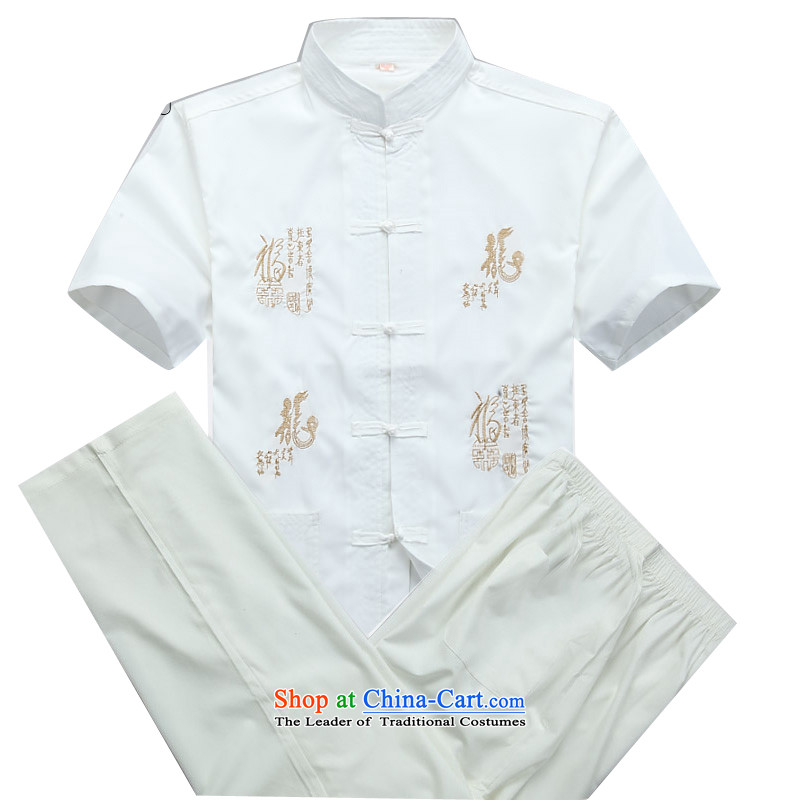 Beijing Europe Tang dynasty male short-sleeve kit summer new short-sleeve packaged in Tang Dynasty older men white燲XL_185 Kit