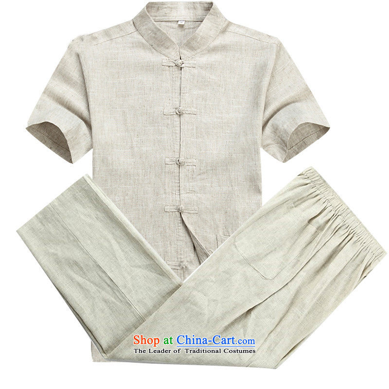 Beijing Europe Tang dynasty male short-sleeved T-shirt packaged new summer products men cotton linen in Tang Tang dynasty older short-sleeved father boxed packaged�XXL/185 beige