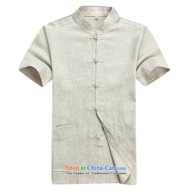Beijing Europe Tang dynasty male short-sleeved T-shirt packaged new summer products men cotton linen in Tang Tang dynasty older short-sleeved father boxed packaged聽XXL/185, beige Putin (JOE OOH) , , , shopping on the Internet