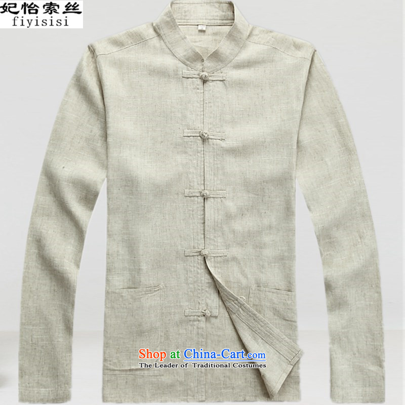 Princess Selina Chow in Tang Dynasty Men long-sleeved kit of older persons in the spring and summer linen Tang dynasty short-sleeved cotton linen package ball Services Mr Ronald Chinese men's T-shirt, beige single Chinese tunic T-shirts are�0