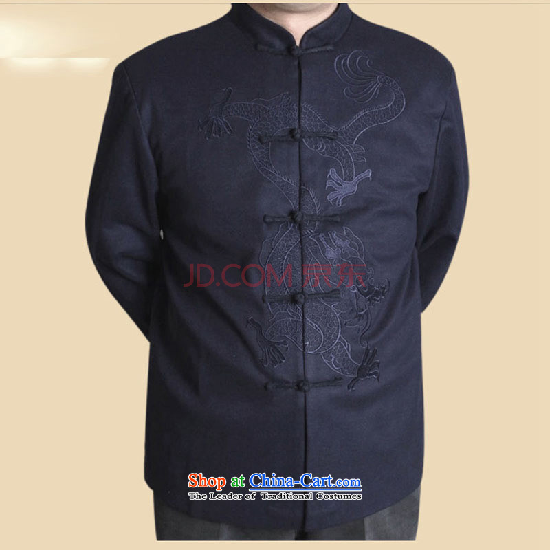In line cloud Han-nation China wind collar long-sleeved shirt upscale male Spring and Autumn Chinese elderly in the jacket Tang dynasty聽DYF717聽聽XXXL, blue-line (youthinking cloud) , , , shopping on the Internet
