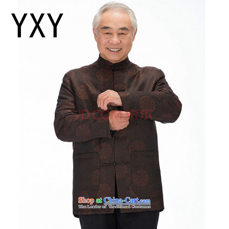 In line cloud elderly men's jackets Tang Tang dynasty of older persons for larger thick Chinese robe China wind ��� DYD-14016��XXXL Brown