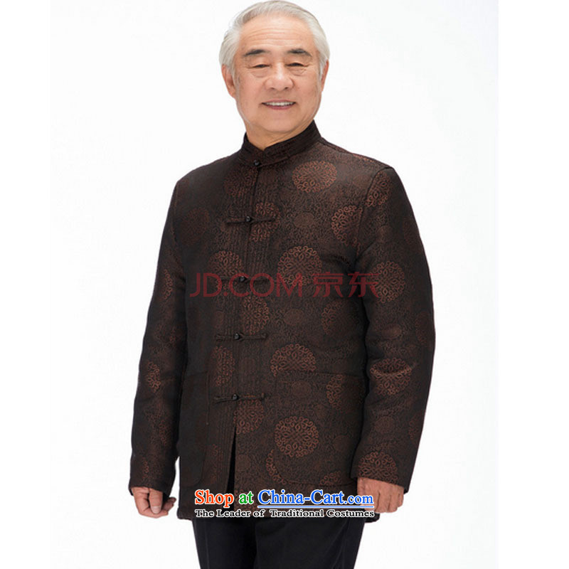 In line cloud elderly men's jackets Tang Tang dynasty of older persons for larger thick Chinese robe China wind 茫镁貌芒聽DYD-14016聽聽XXXL, brown-line (youthinking cloud) , , , shopping on the Internet