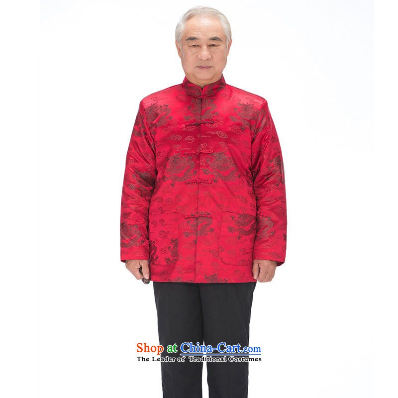 In line cloud men Tang Dynasty Chinese robe long-sleeved sweater disc is older men fall/winter Tang dynasty replacing Eric Li Yunlong聽DY0789聽wine red Black Dragon聽, L-line (youthinking cloud) , , , shopping on the Internet