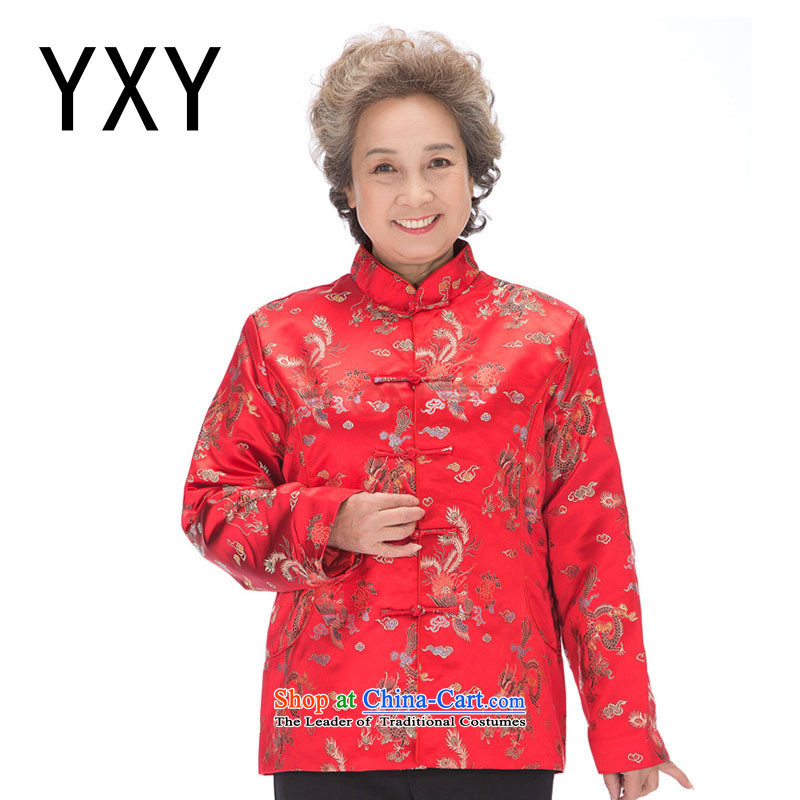 In line for autumn and winter by men and women cloud clip cotton dragon and the Tang dynasty mom and dad golden marriage in older couples with coat DY0876 women red XXL