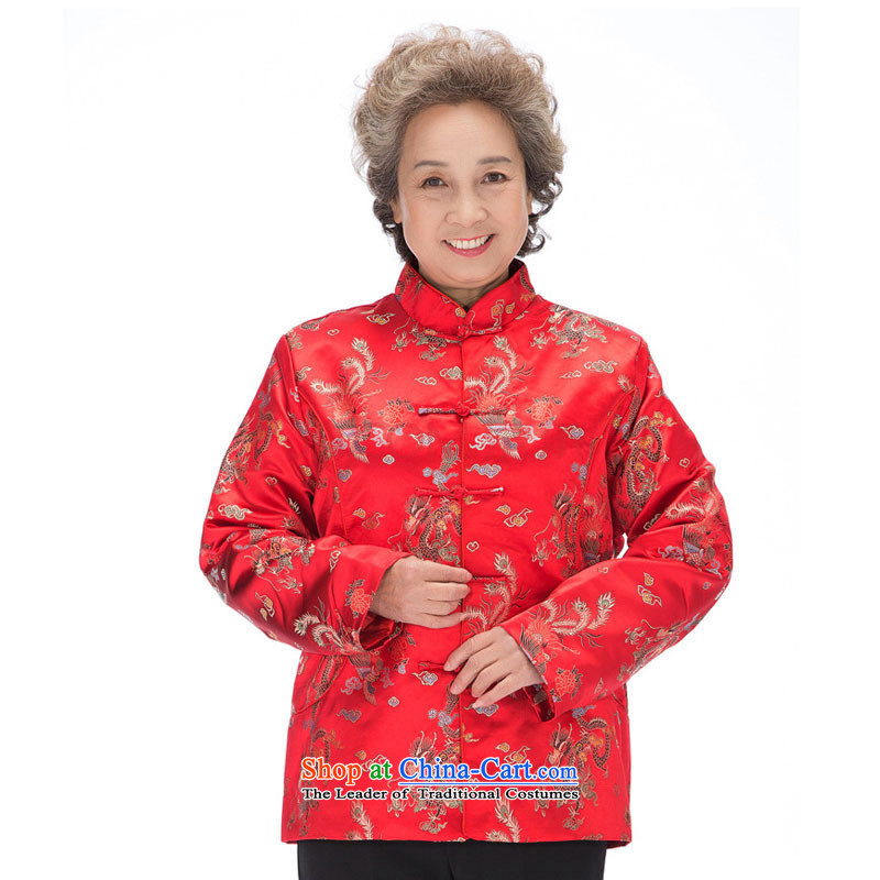 In line for autumn and winter by men and women cloud clip cotton dragon and the Tang dynasty mom and dad golden marriage in older couples with coat聽DY0876聽women red聽-line cloud XXL, youthinking) , , , shopping on the Internet