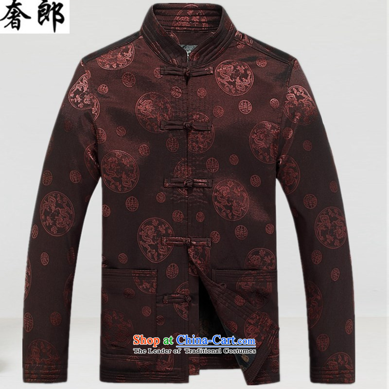 The extravagance in spring and autumn replacing men who Chinese collar Tang long-sleeved jacket in older birthday life too thick winter clothes Stylish retro robe Chinese cotton coat coffee-colored L
