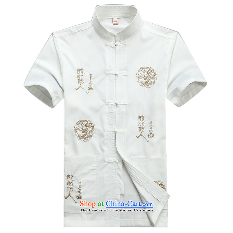 Beijing Summer in the new European older men China wind Tang Dynasty Chinese Kit male short-sleeve kit male燲XL_185 white T-Shirt