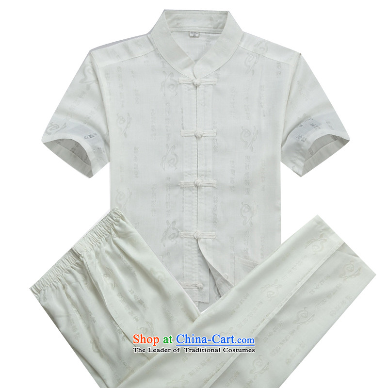 Beijing Europe in the new men Tang dynasty short-sleeved summer linen china wind Chinese collar middle hand-held men improved Tang Dynasty Package half-sleeved shirt ball-White Kit�XXL/185 services