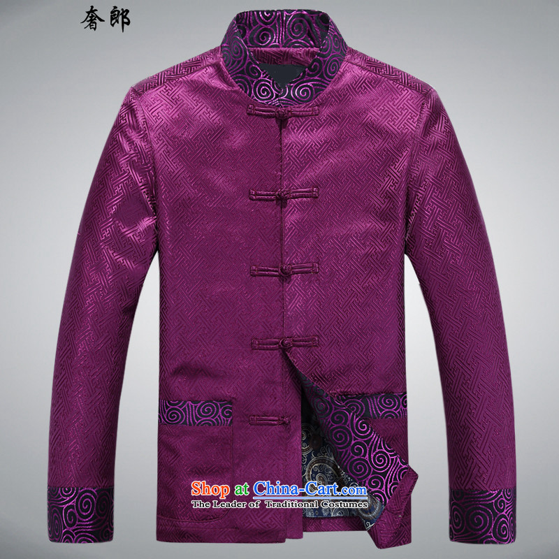 The luxury of health of autumn and winter new Fu Shou of older persons in the Tang dynasty middle-aged men's Mock-neck long-sleeved blouses men national costumes China wind collar to intensify the purple�XXXL