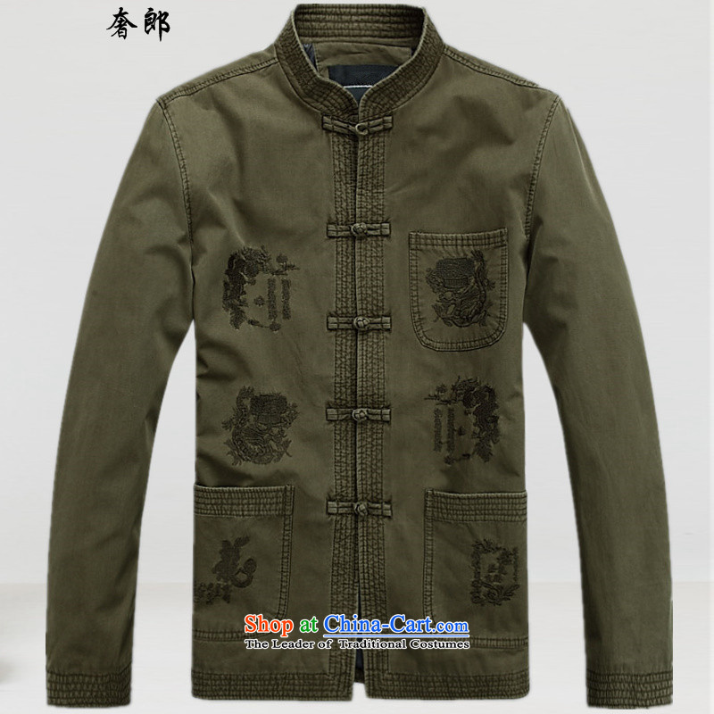 The luxury of health of autumn and winter new Tang dynasty long-sleeved men of older persons in the jacket coat collar father Han-loaded national costumes and Chinese improved collar cotton coat�No. 1 Color�XXL