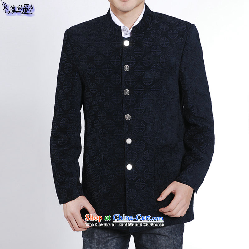 Yi Yi has evolved with the new multimedia men wore clothing is smart casual retro Tang dynasty China wind men in older men's dress suit 38,028 alumni by Tang Dynasty navy blue�185